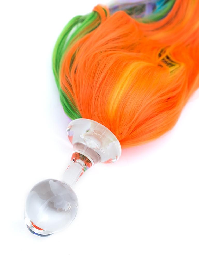 Five Color Ponytail Glass Butt Plug