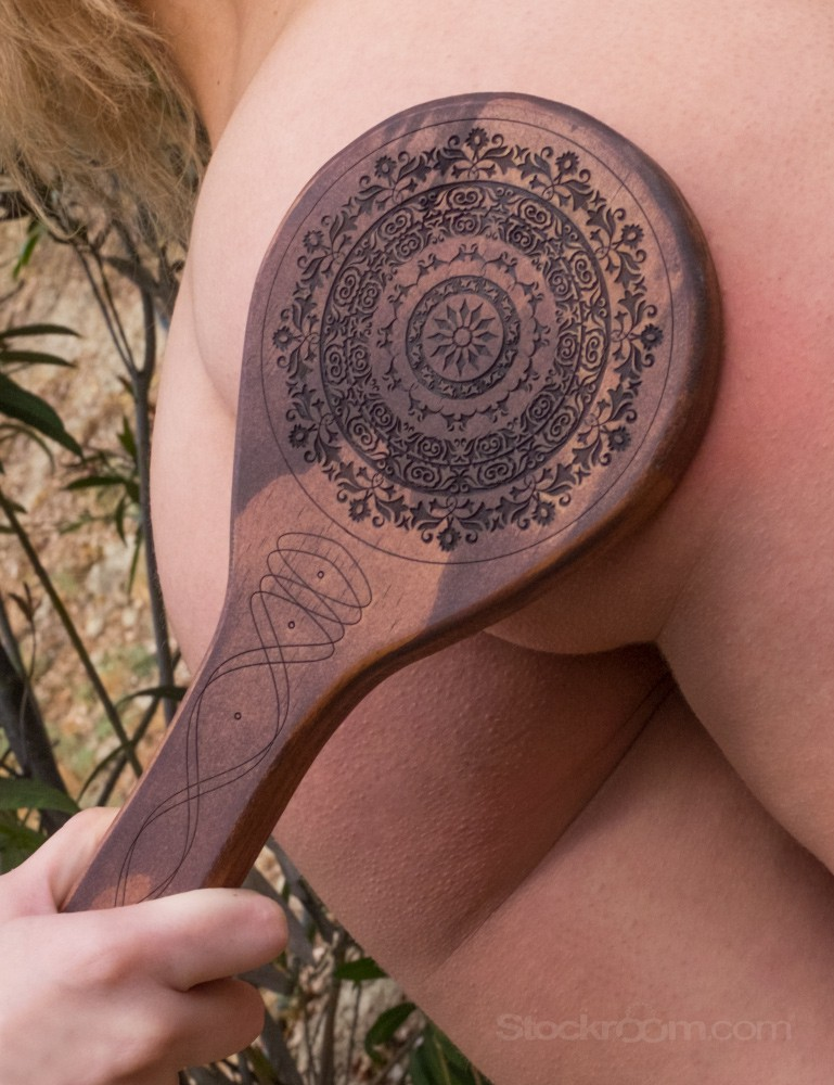 Floral Engraved Wood Spanking Paddle