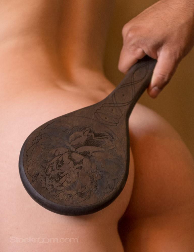Peony Engraved Wooden Spanking Paddle, Ebony Pine