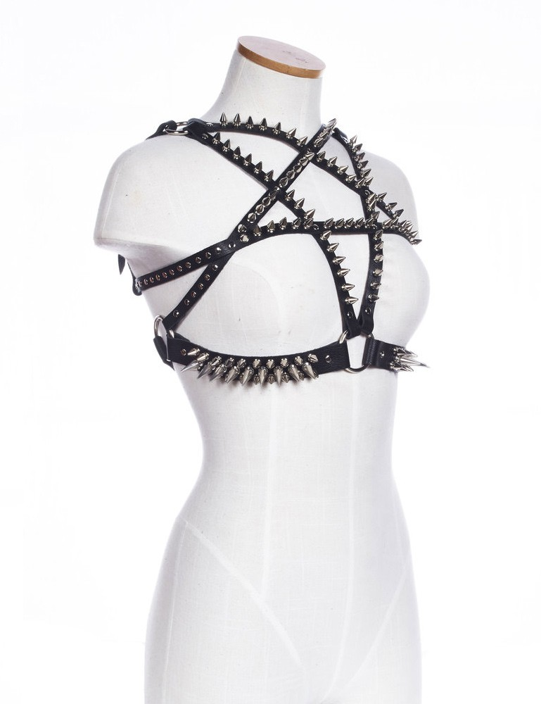 Haus of Sky Spiked Pentagram Leather Bust Harness