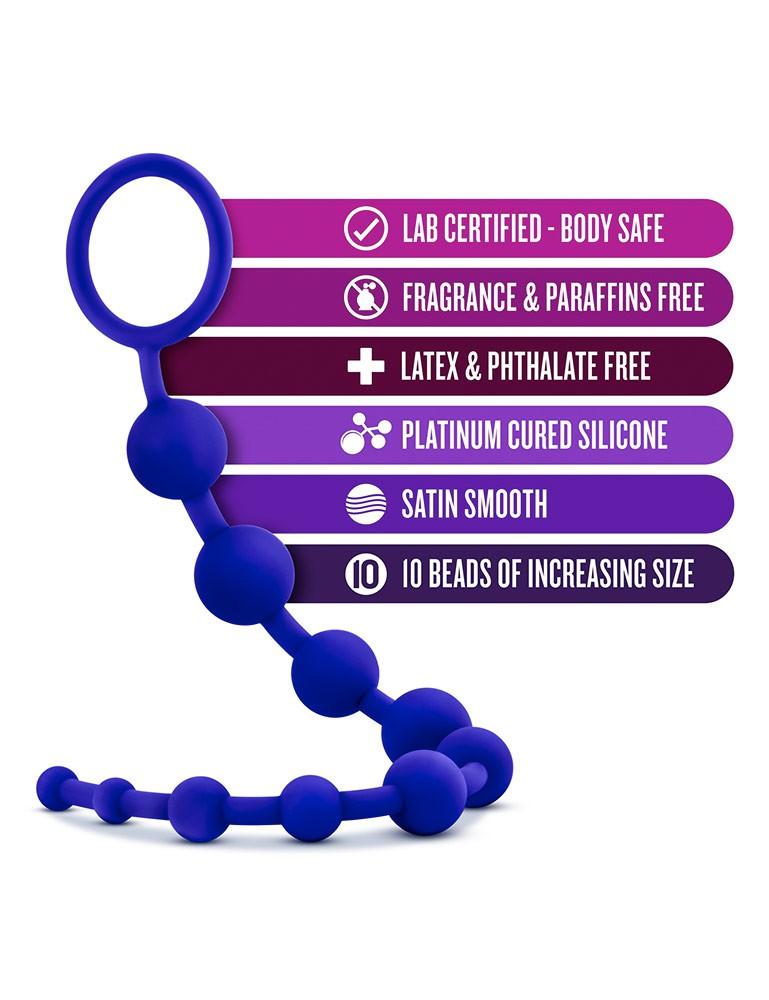 Luxe - Silicone 10 Anal Beads - Indigo