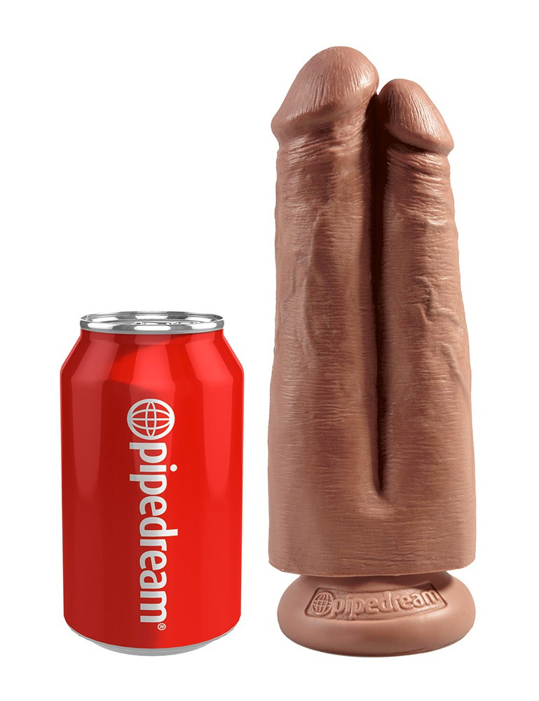 """King Cock 7"""" Two Cocks, One Hole Double Dildo, Tan"""