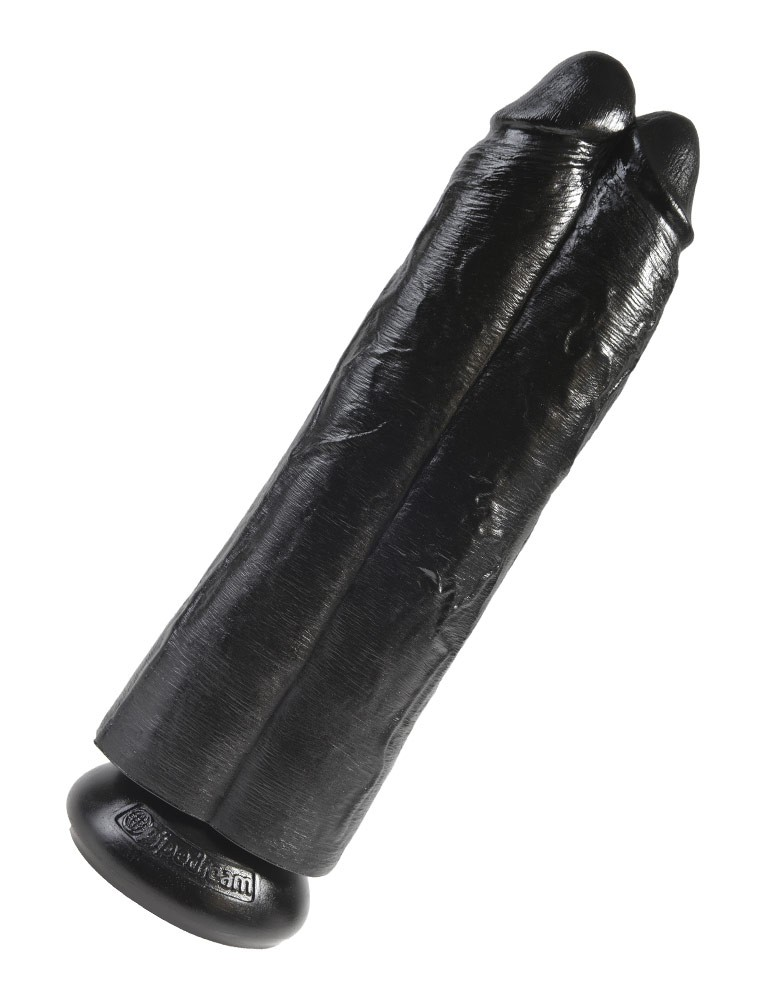 """King Cock 11"""" Two Cocks, One Hole Double Dildo, Black"""