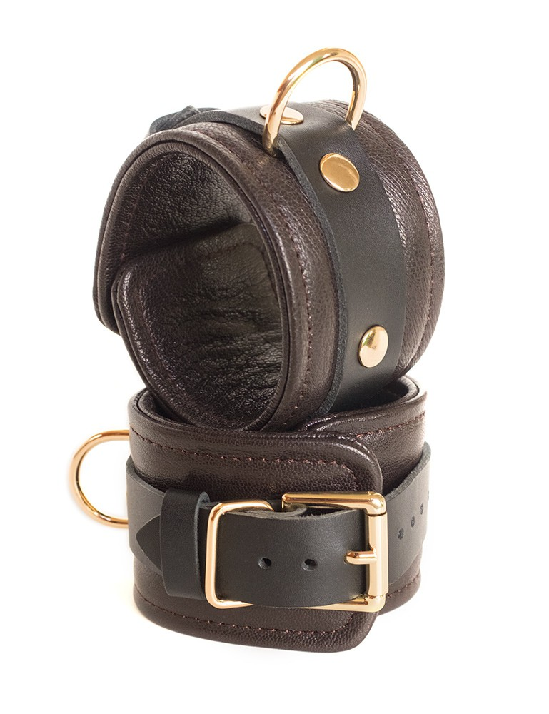 Brown Leather Wrist Restraints with Gold Accent Hardware