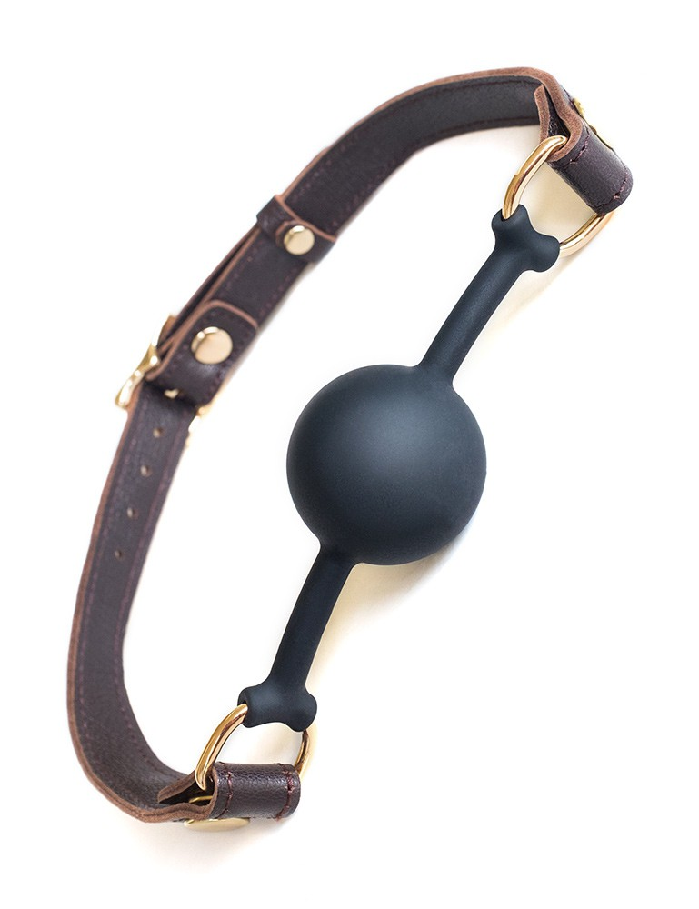 Silicone Ball Gag with Brown Leather Strap-43mm Ball