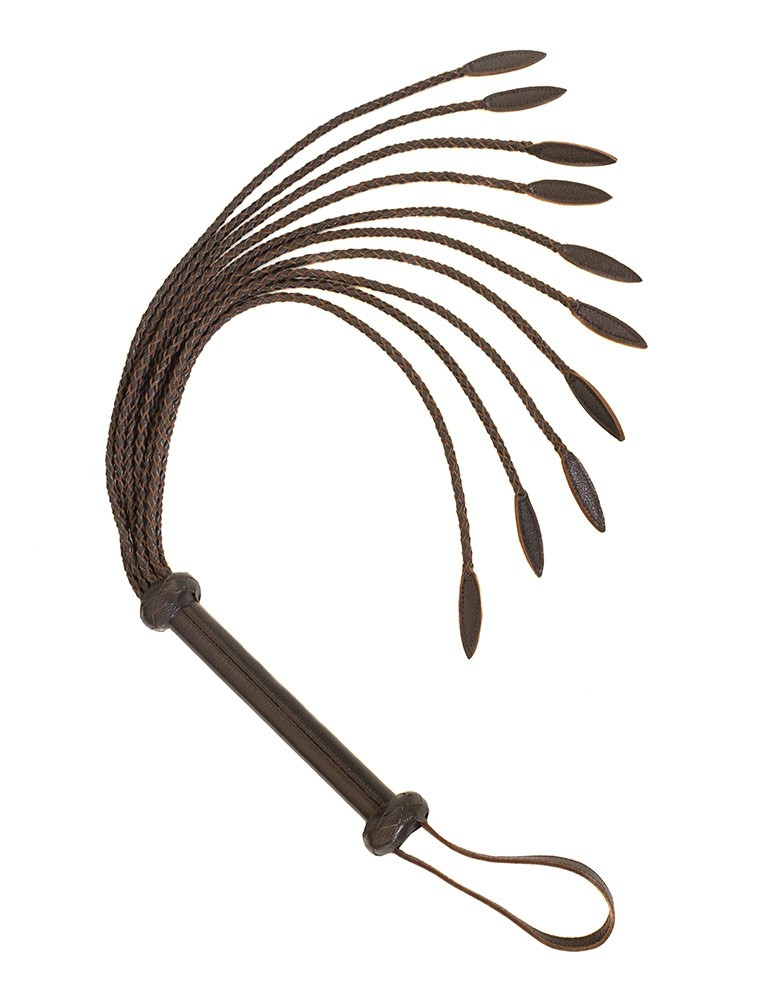 Brown Leather Braided Whip