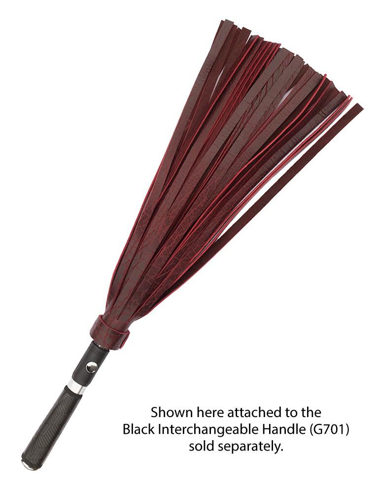 "Black Cherry Leather Bison Hide Interchangeable Flogger Head 1/2"""