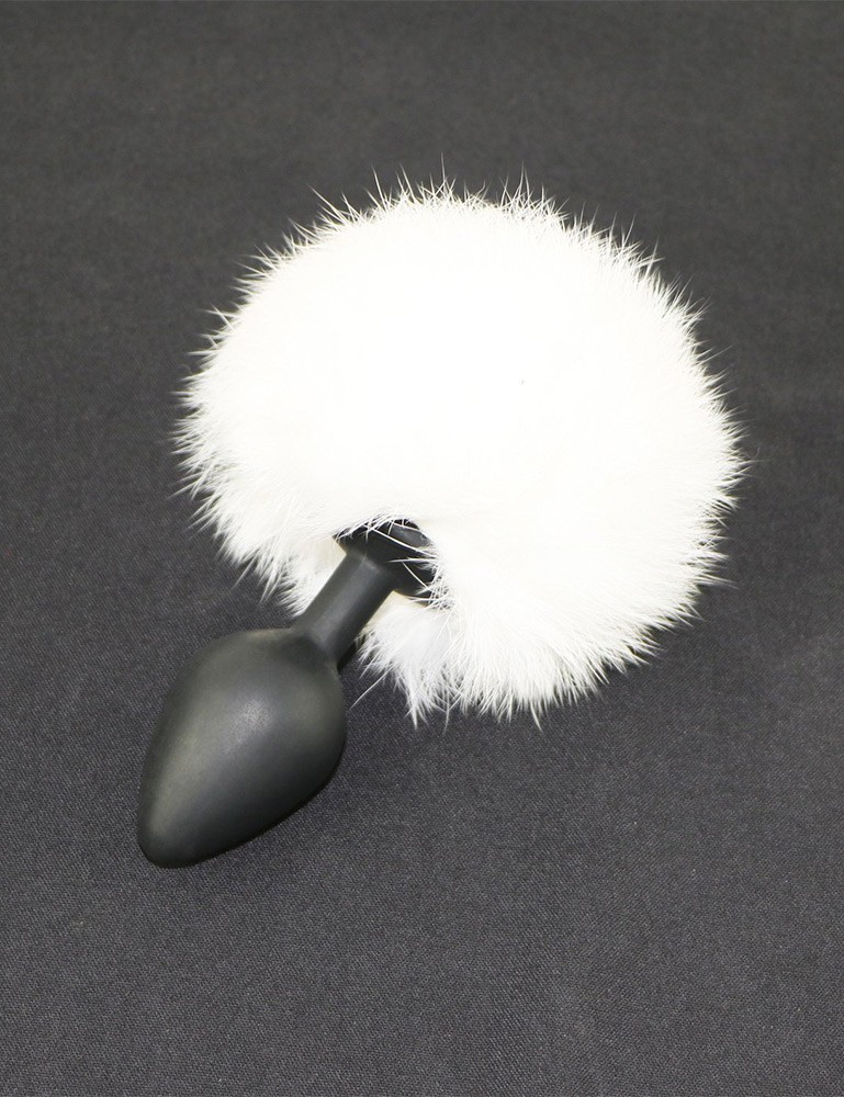White Rabbit Fur Bunny Tail Silicone Butt Plug