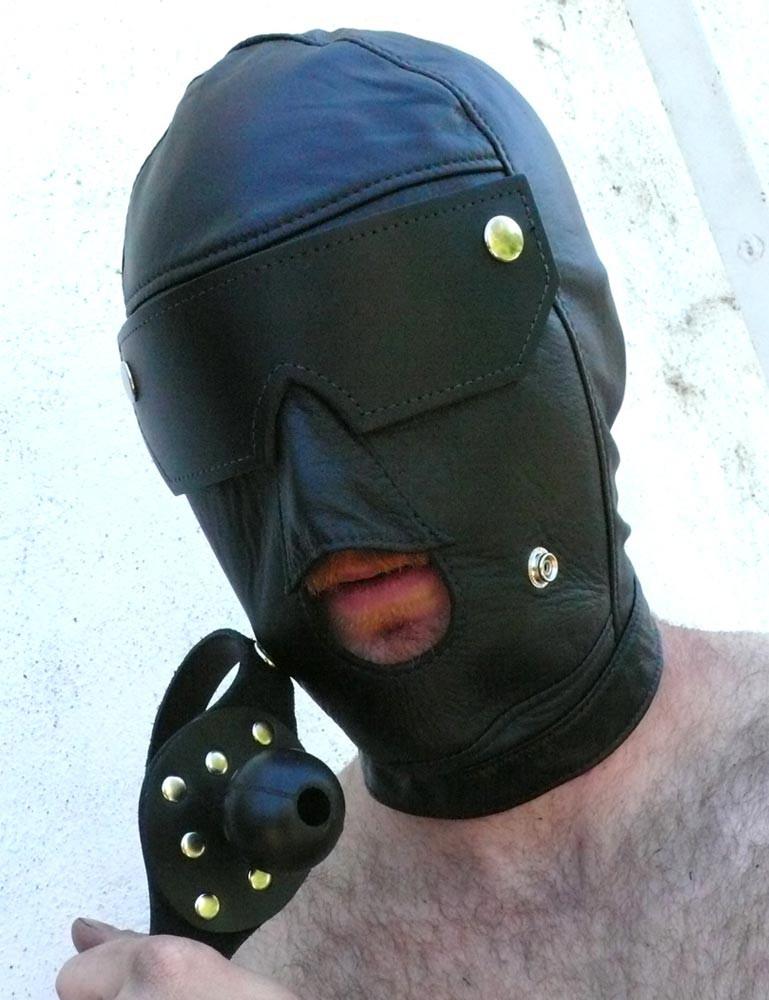 Slave Hood w/ Ball Gag and Blindfold