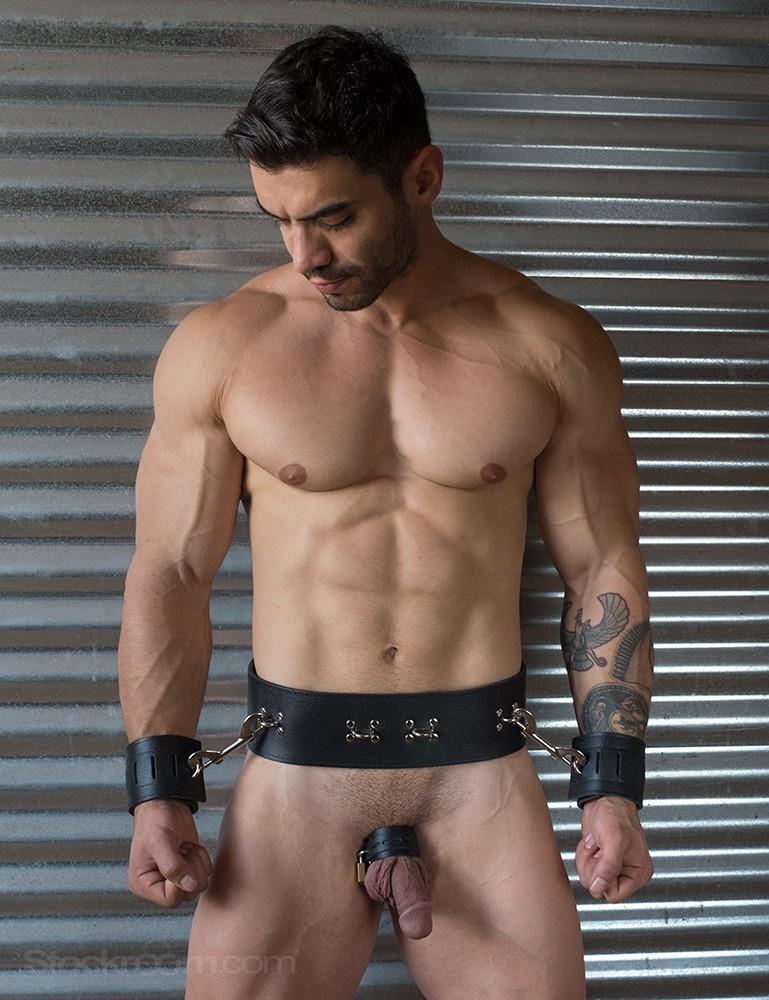 Leather Prisoner Bondage Belt with Removable Butt Plug Harness and Locking Cock Strap