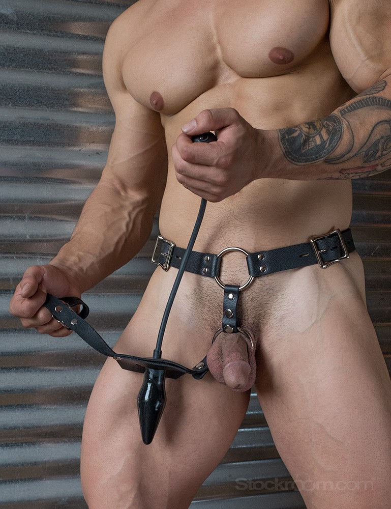 Inflatable Anal Plug Leather Harness for Men