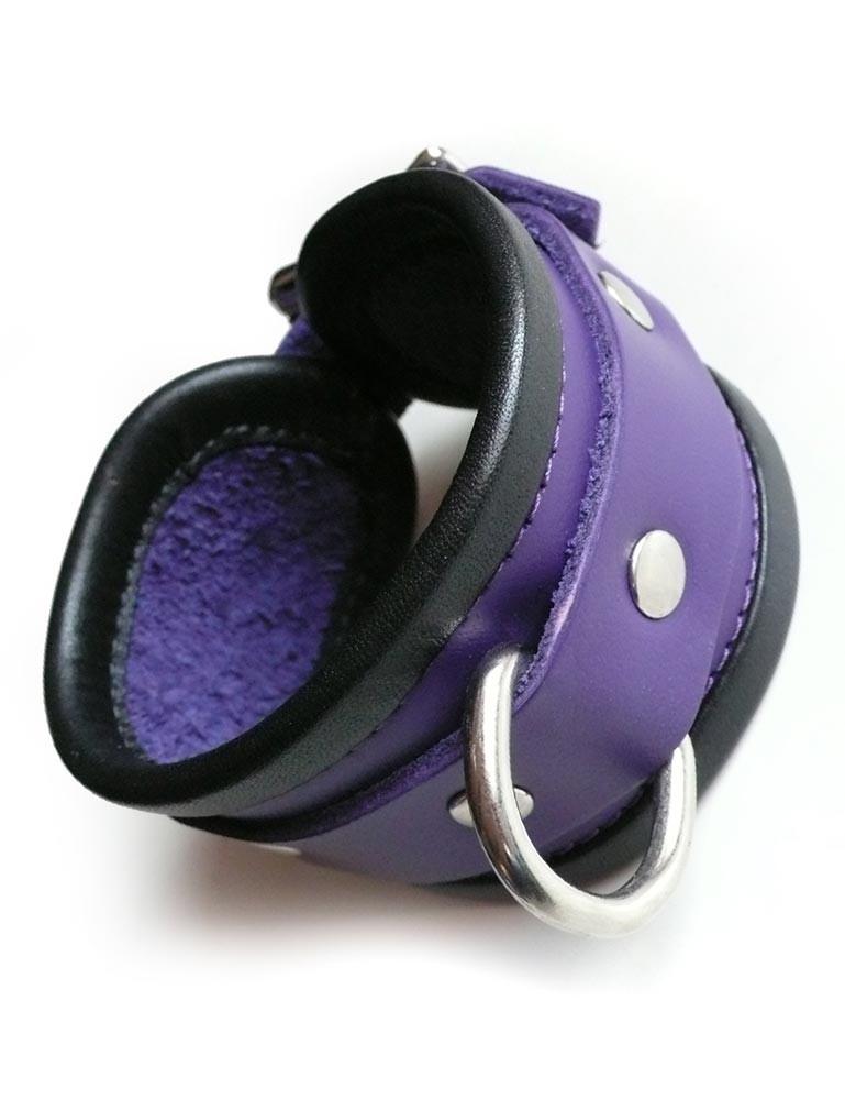 Locking Purple Wrist Cuffs with Black Trim