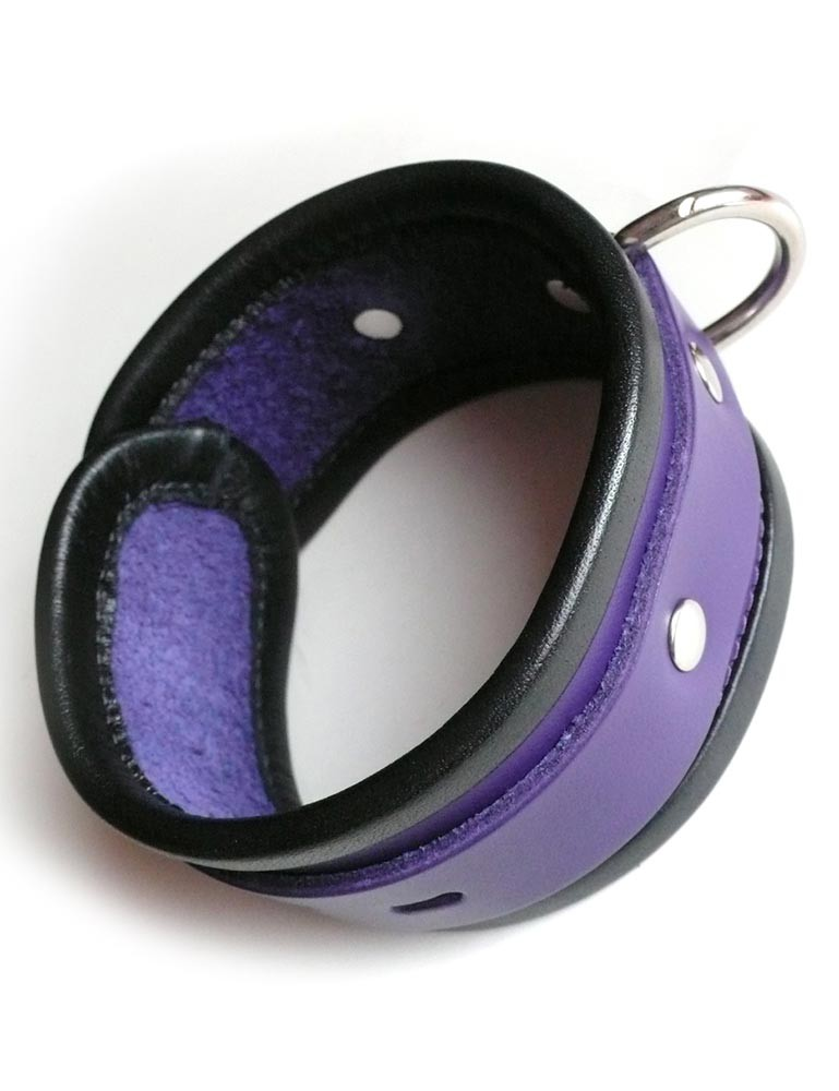 Locking Purple Ankle Cuffs with Black Trim
