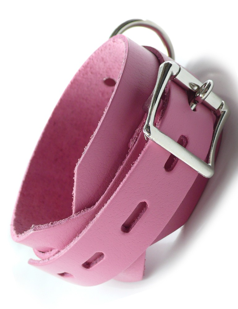 Pink Deluxe Locking Buckling Leather Collar
