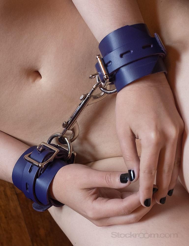Purple Leather Wrist Cuffs with Locking Buckle