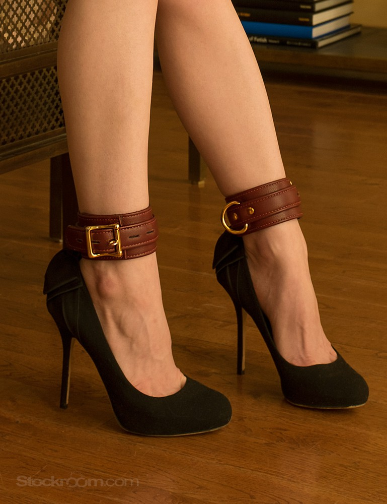 JT Signature Collection Ankle Restraints Leather Cuffs - Stoya