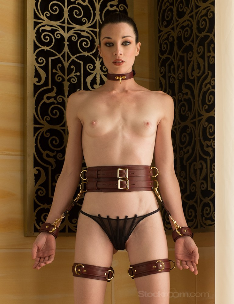 JT Signature Collection Locking Leather Thigh Cuffs - Stoya