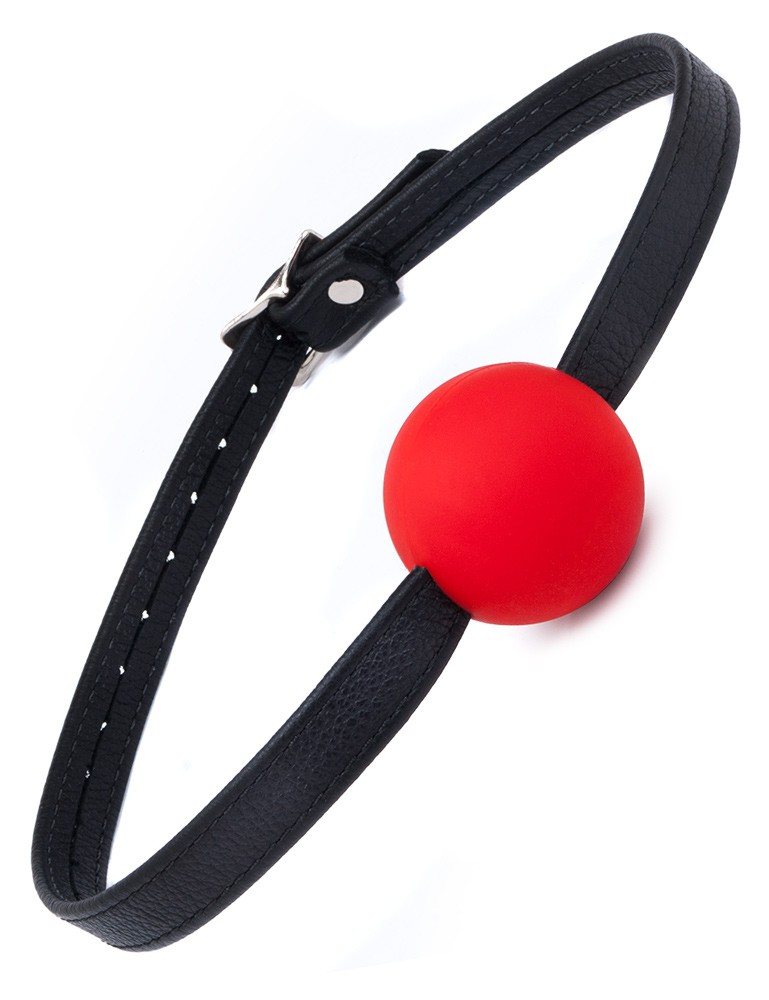 Silicone Ball Gag with Garment Leather Strap