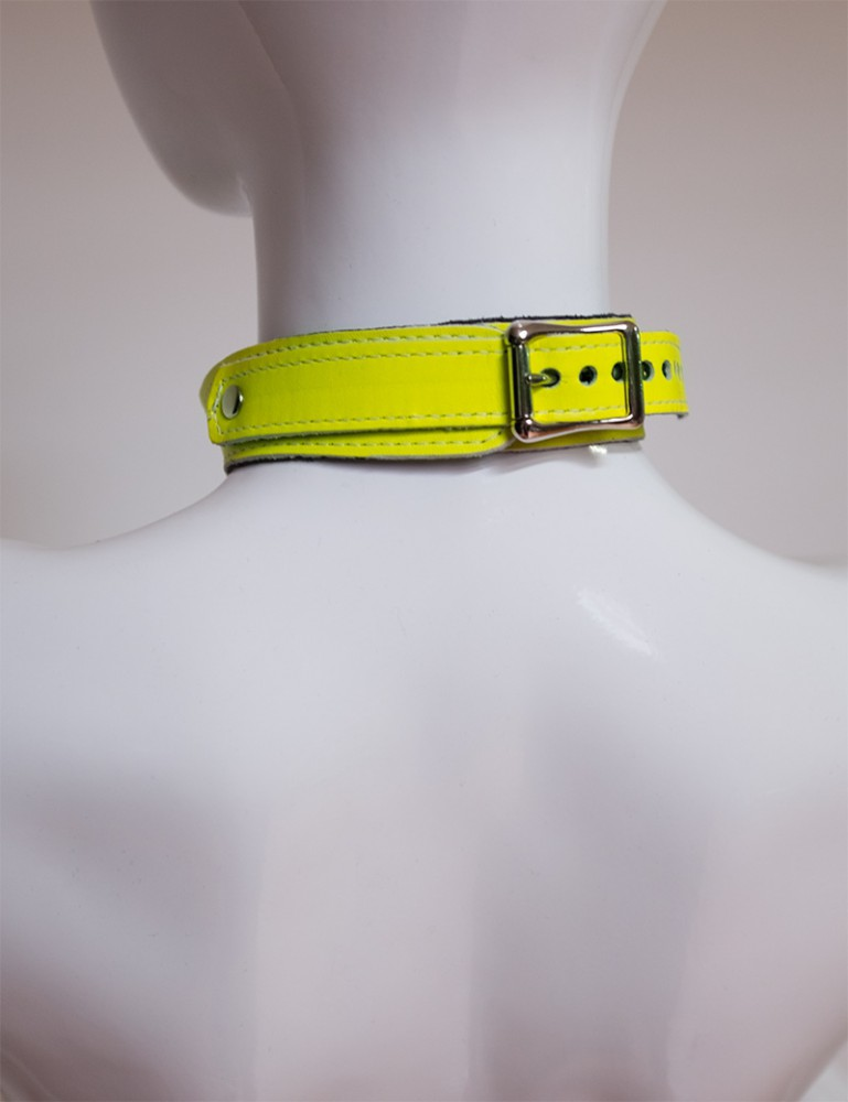 Neon Angel Leather Bust Harness, Yellow