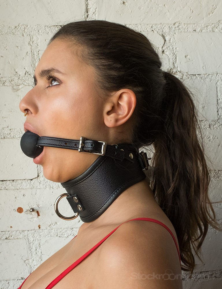 Leather Posture Collar with Silicone Ball Gag