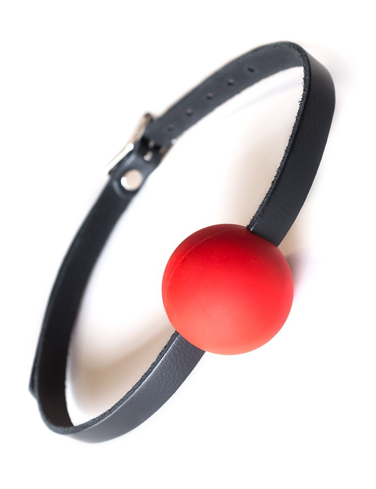Kinklab Red Silicone Ball Gag w/ Leather Straps