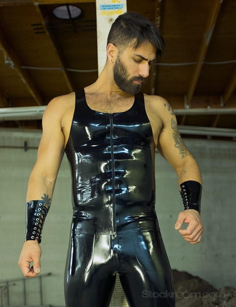 Men's Front Zip Latex Tank Top