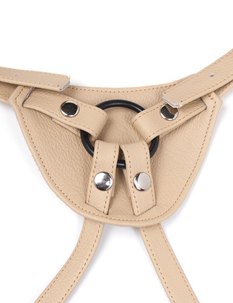 Terra Firma Leather Strapon Dildo Harness, Tan