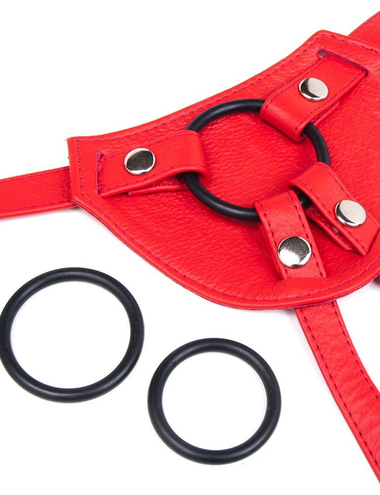 Terra Firma Leather Strapon Dildo Harness, Red