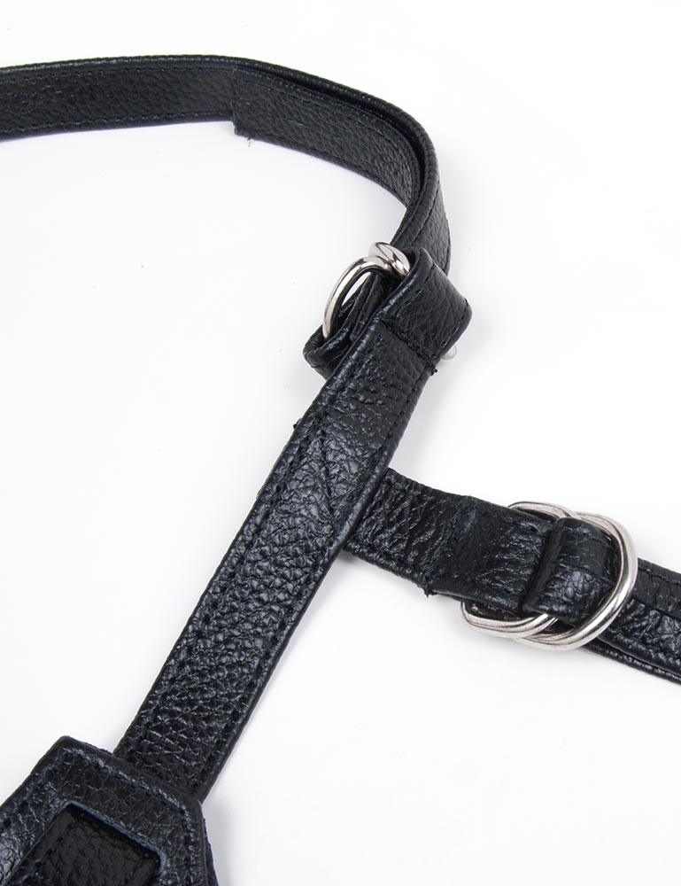 Terra Firma Dee Leather Strapon Dildo Harness, Black