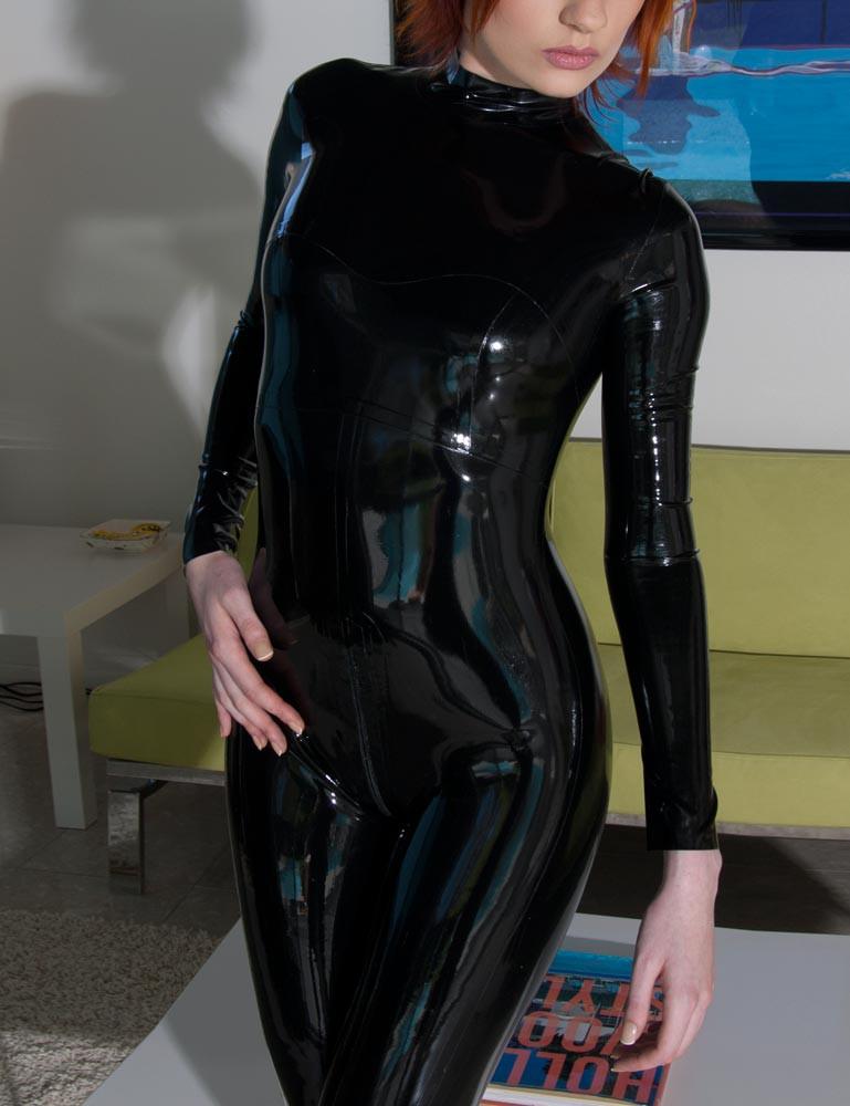 Full Latex Catsuit w/ Back Zip, Black