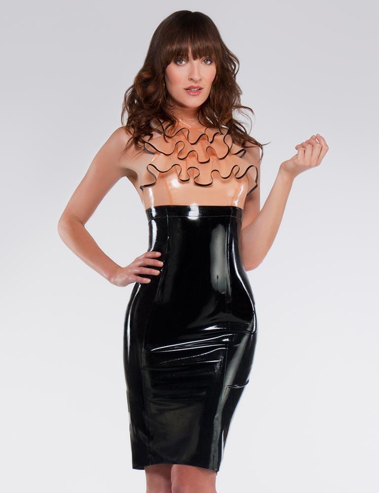 Syren Latex Empire Waist Pencil Skirt