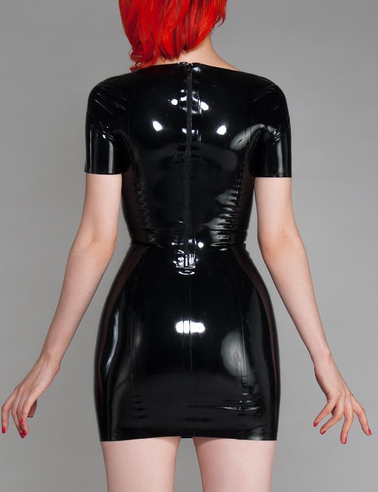 Sweetheart Latex Dress w/ Short Sleeves
